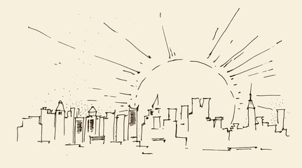 sunrise in New York city architecture, engraved illustration