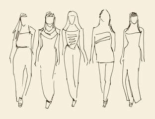 Fashion models, Sketch, Vector Illustration