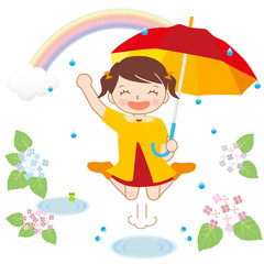 梅雨 雨の日を楽しむ女の子