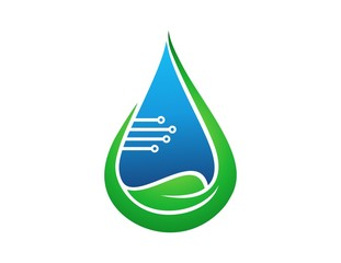 logo water drop,leaf plant symbol,technology electric icon