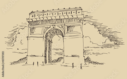 Arch of Triumph, Paris, city architecture, engraved illustration