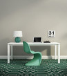 Elegant white home office interior with green chair