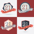Set of Retro vector Stamps/Seal for 21st business anniversary .