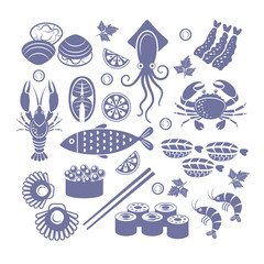 Seafoods icon set.