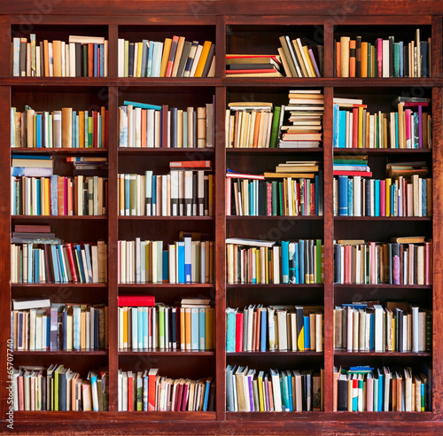 Bookshelf full with books - 65707740