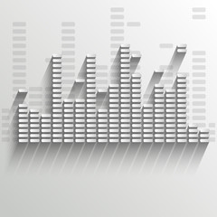 White digital equalizer background on white - vector illustratio