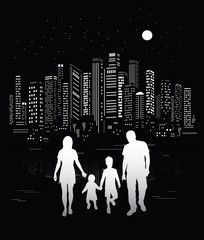 City life. Urban background and family silhouettes.
