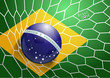 Soccer ball in net with brazil flag vector illustration