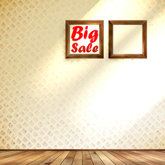Beige wall wooden floor with Big sale frame.