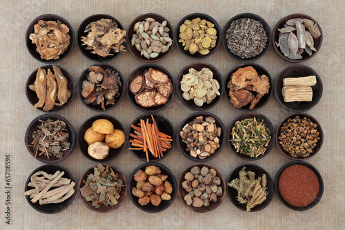 Deurstickers Assortiment Chinese Herbal Medicine