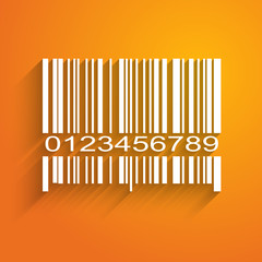 Barcode image on orange background - vector illustration
