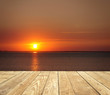 canvas print picture - Sonnenuntergang mit Holz