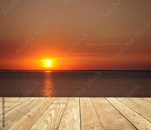 canvas print picture Sonnenuntergang mit Holz