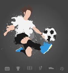 Soccer player kicks the ball with paint splatter design