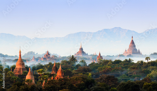 Panorama the  Temples of bagan at sunrise, Bagan, Myanmar - 65709357