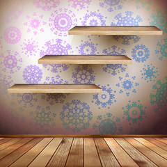 Walls with a shelfs decorated snowflakes. EPS 10