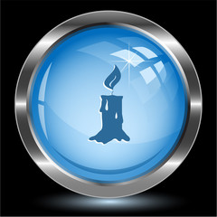 Candle. Internet button. Vector illustration.