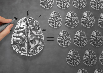 hand draws 3d metal brain asTeamwork concept Many small brains e
