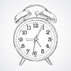 Hand drawn vector sketch illustration alarm clock