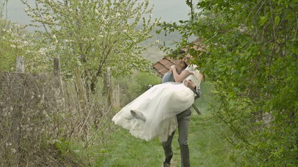 Newly Weds Couple Husband Carrying Bride Country Style Nature