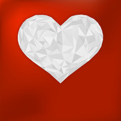 Origami paper heart on red. + EPS8