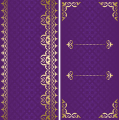 golden and violet vector cards with arabic ornament