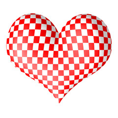 Croatia in heart. 3D heart with croatian squares.