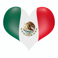 Mexico in heart. 3d heart in colors of mexican flag.