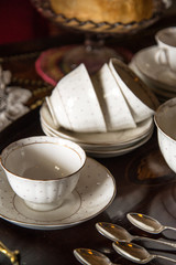 18th Century cups and saucers crockery on inlaid wooden serving