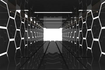 Futuristic black hexagon room