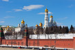 View of the Kremlin in Moscow in the sunny winter day