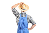 Rear view, studio shot of an agricultural worker