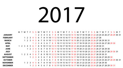 Horizontal calendar for 2017 on white background. Vector EPS10.