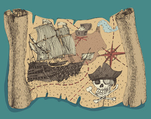 Island Treasure Map (pirate map), engraved, vector illustration