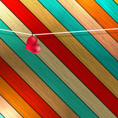 Lovely red heart hanging on clothesline. + EPS8