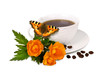 Mug with coffee and flowers on white background