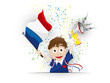 France Soccer Fan Flag Cartoon
