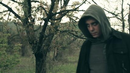 Angry Psychopath Walking Finding Grabbing Victim Dark Horror