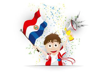 Paraguay Soccer Fan Flag Cartoon