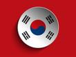 Flag Paper Circle Shadow Button South Korea