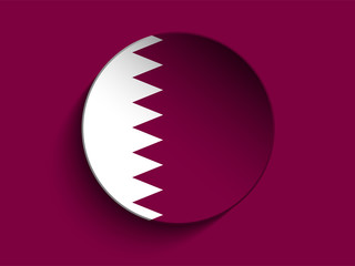 Flag Paper Circle Shadow Button Qatar
