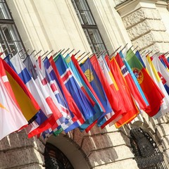 International flags in Hofburg, Vienna