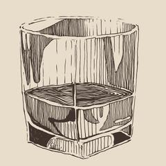 glass of whisky vintage illustration, engraved style