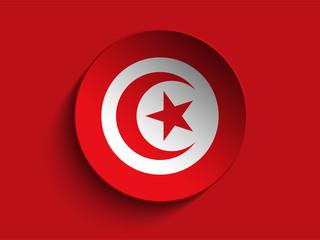 Flag Paper Circle Shadow Button Tunisia
