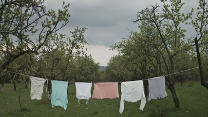 Country Life Dry Clothes Hanging on Rope Storm Coming Concept