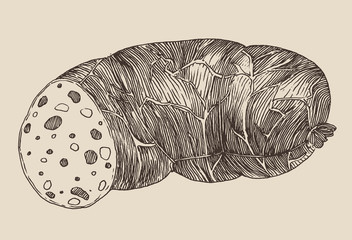 piece of sausage, vintage illustration, engraved style