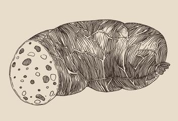 piece of sausage, vintage illustration, engraved style