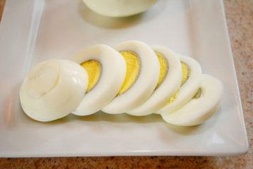 Sliced Hard Boiled Egg on a Plate