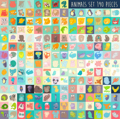 cute cartoon animals set 190 pieces, vector illustration
