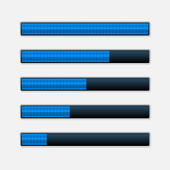 Set of Blue Progress Bars. Vector Loading Bars